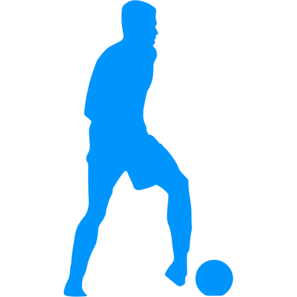 Football player blue silhouette clip art