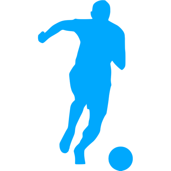 Blue soccer player icon