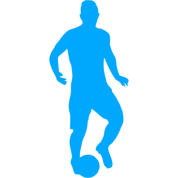 Football player blue silhouette