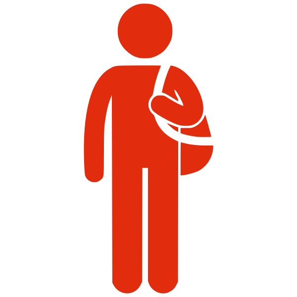 Silhouette vector drawing of man with bag