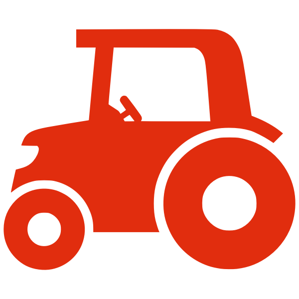 Red silhouette vector image of a tractor