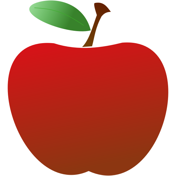 2D red apple vector drawing