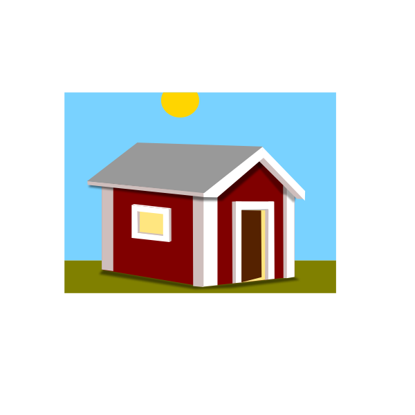 Vector graphics of red booth home