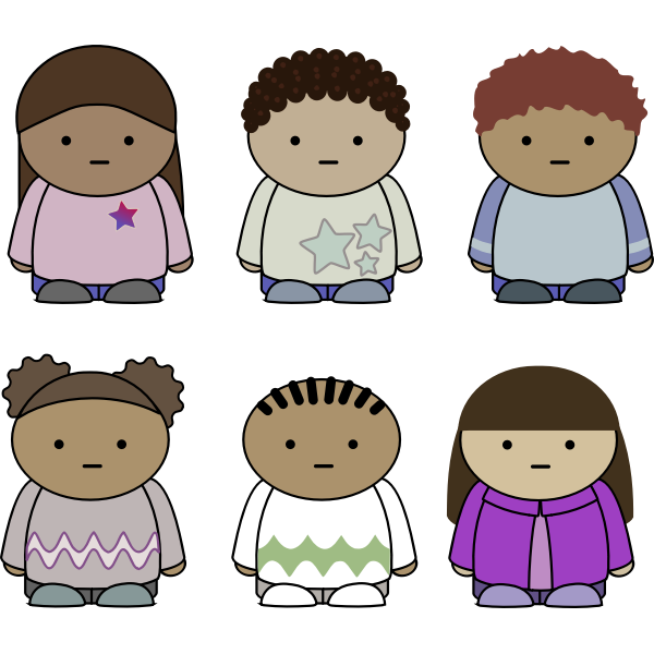 Vector image of selection of school kids characters