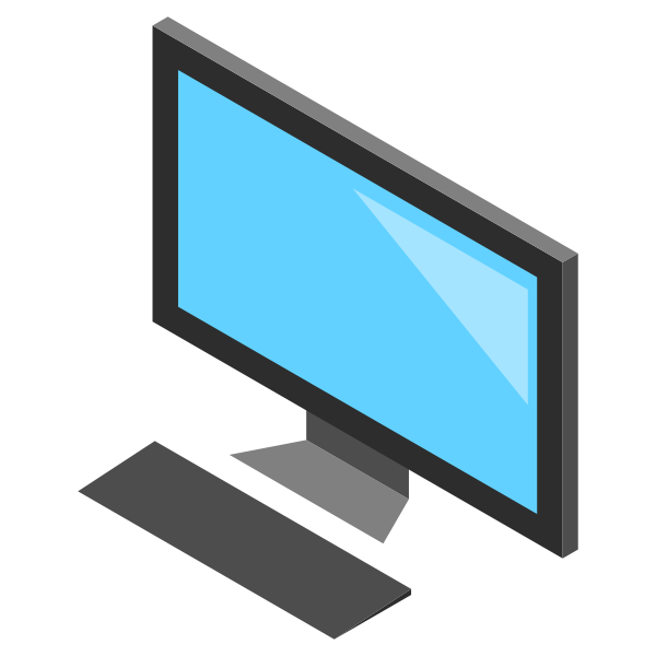 Desktop PC icon with monitor vector image