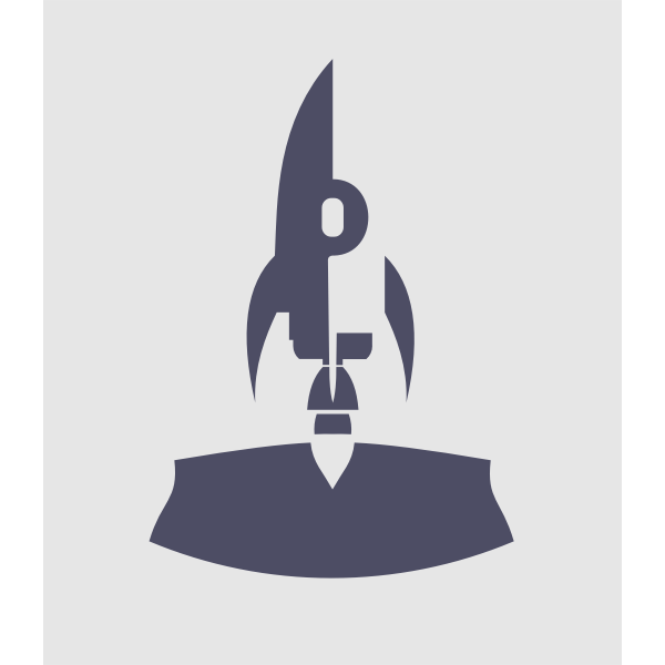 Vector clip art of inverted rocket at launch