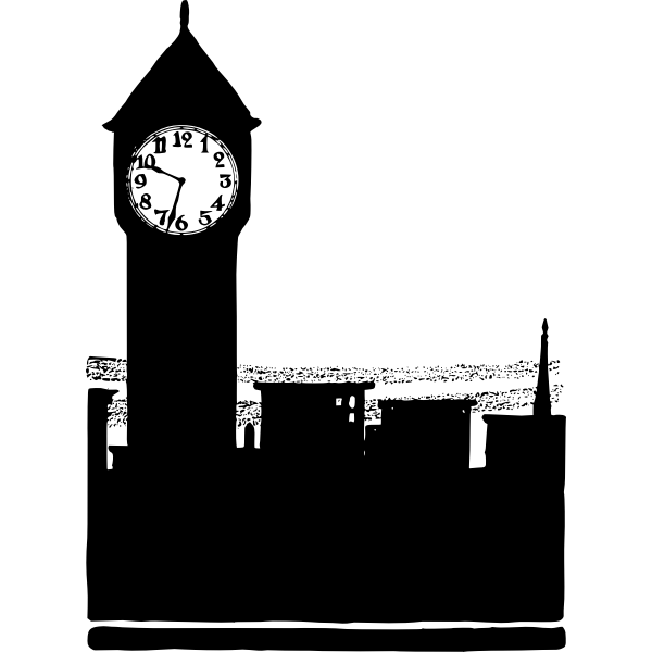 Big Ben tower in London silhouette vector image