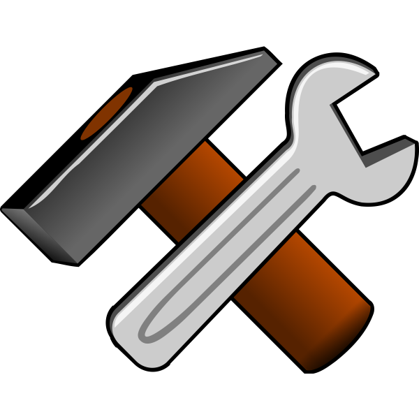 Vector clip art of thick hammer and wrench icon
