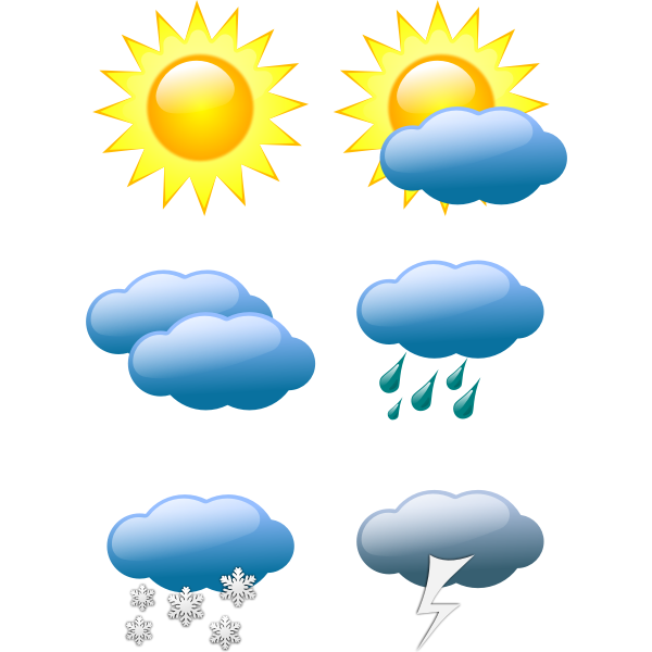 Vector graphics of selection of color weather forecast icons