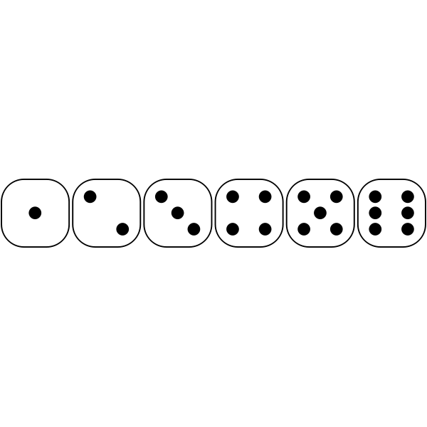 Vector drawing of six-sided dice faces from 1 to 6
