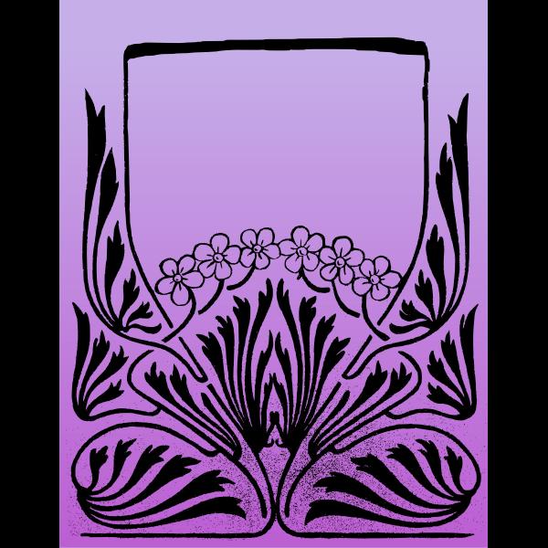 Six flower purple frame vector image