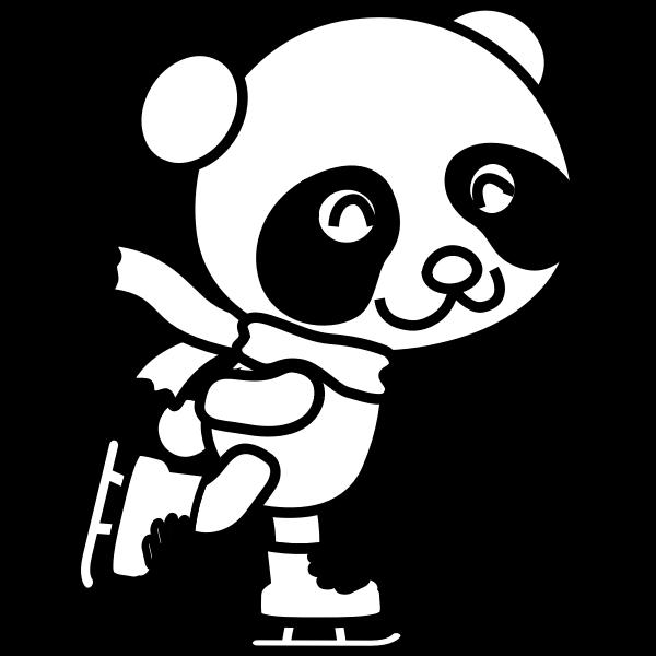 Vector illustration of skating panda coloring page