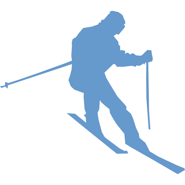 Silhouette vector drawing of ski racer