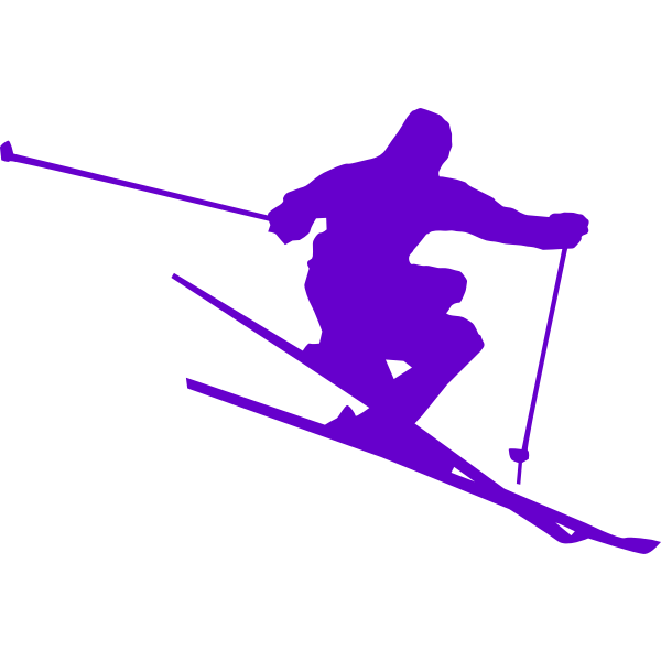 Silhouette vector drawing of skier