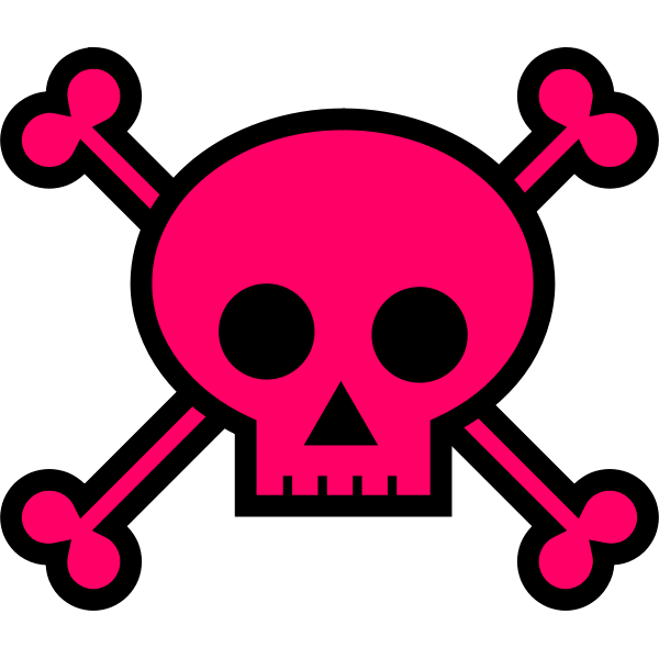 Pink skull death sign vector drawing