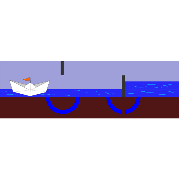 Working of a sluice or lock (phase 3)