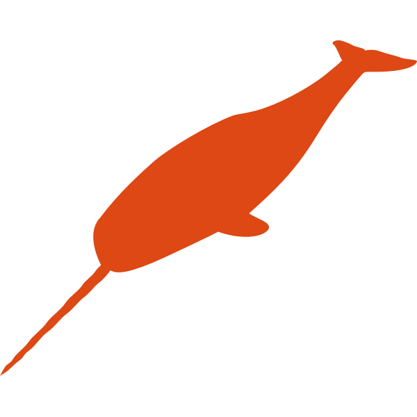 Small narwhal silhouette vector illustration