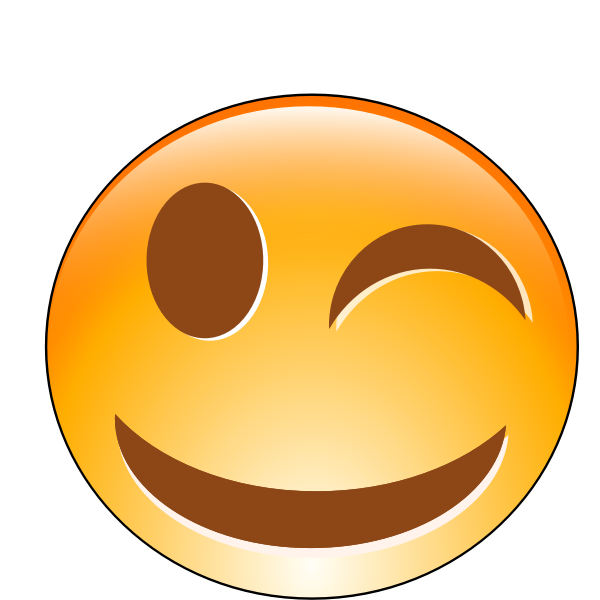Vector illustration of winking smiling orange emoticon