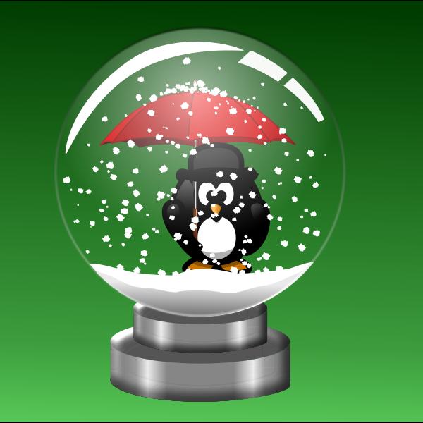 snow globe Penguin with Umbrella