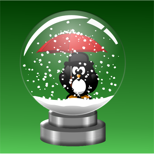 snow globe Penguin with Umbrella