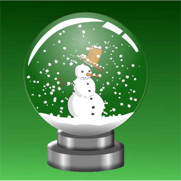 Snowman in crystal ball vector illustration
