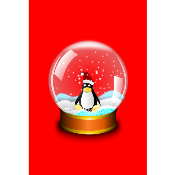 Tux in glass ball vector illustration