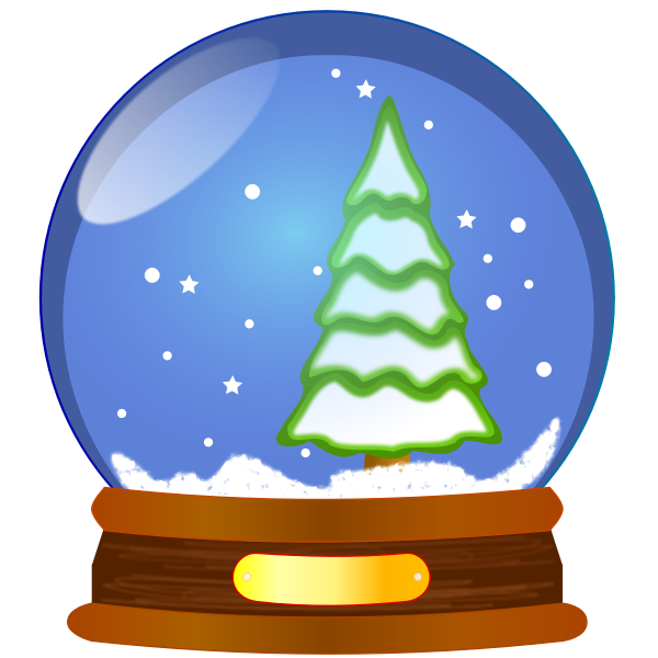 Snow globe with Christmas tree vector clip art