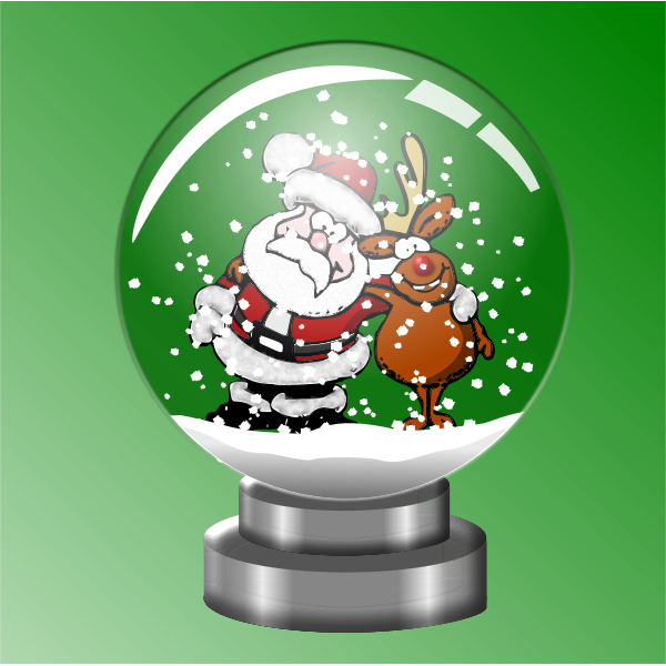 Santa and raindeer in snow globe vector illustration