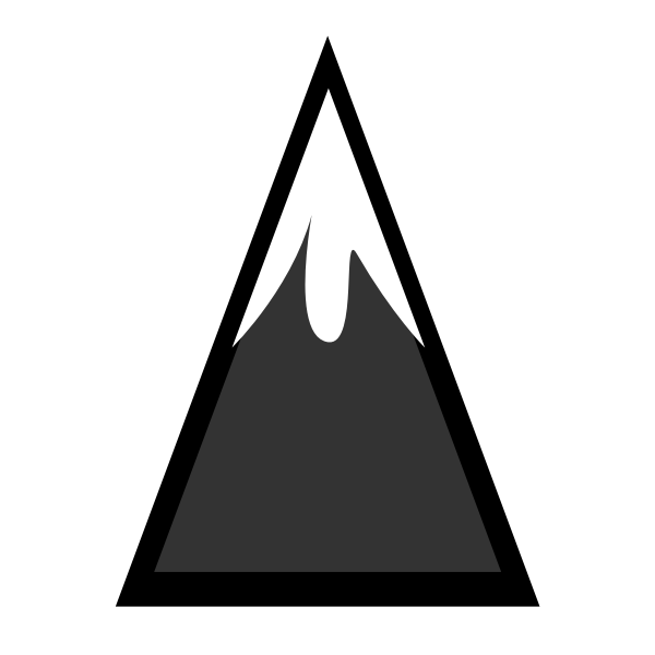 Snow-capped mountain vector silhouette