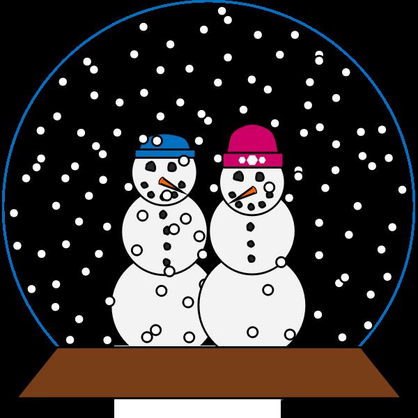 snowglobe with lovebird snowmen