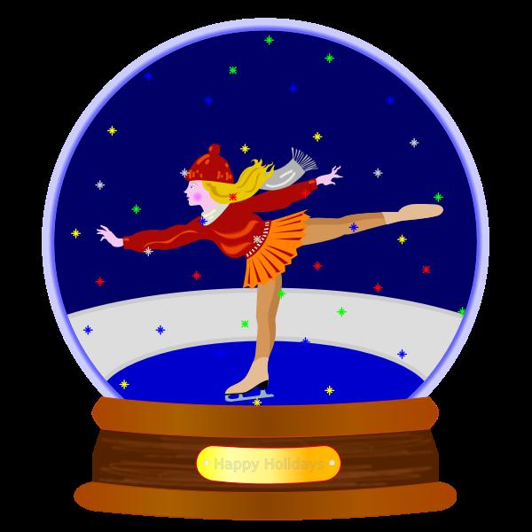 Vector image of ice skate girlsnow globe ornament