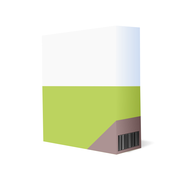 Vector illustration of purple and green software box with barcode