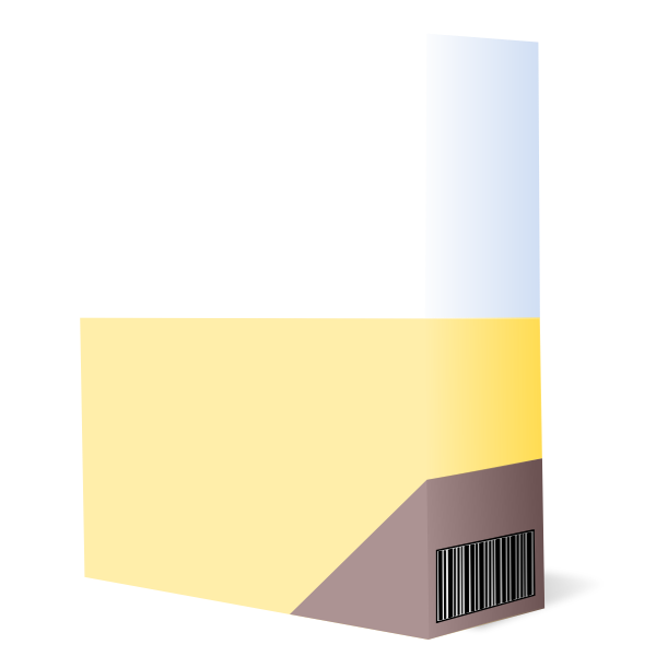Vector drawing of purple and yellow software box with barcode