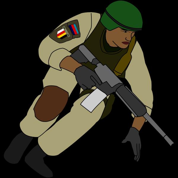 Soldier during battle