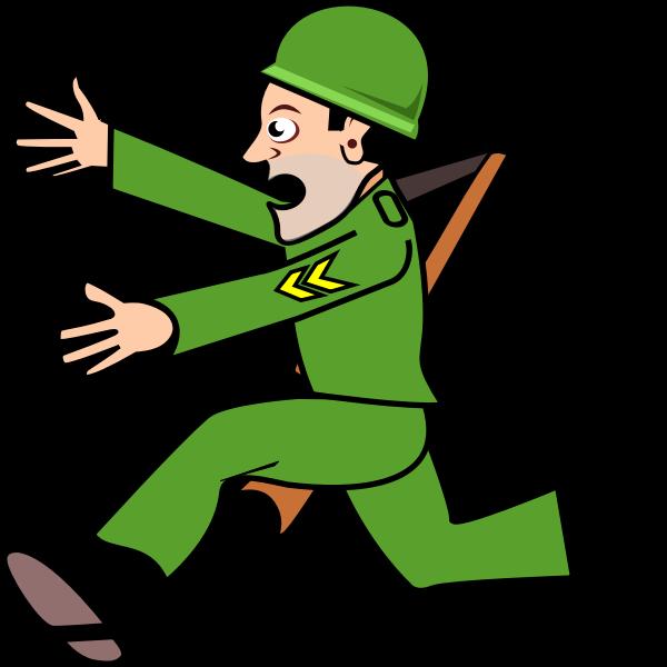 Soldier running away vector