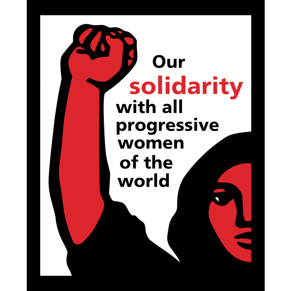 Solidarity with all progressive women of the world poster vector clip art