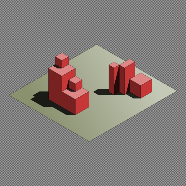Red cubes on the floor