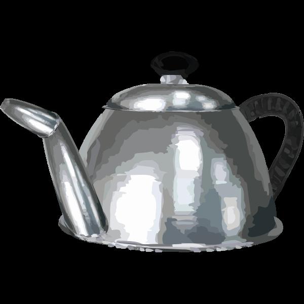 Metal tea pot vector clip art