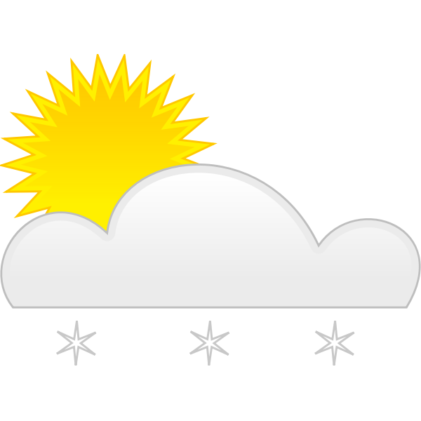 Pastel colored symbol for sunny with snow vector illustration