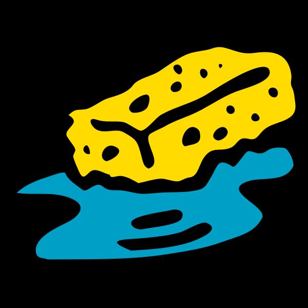 Sponge in water vector clip art