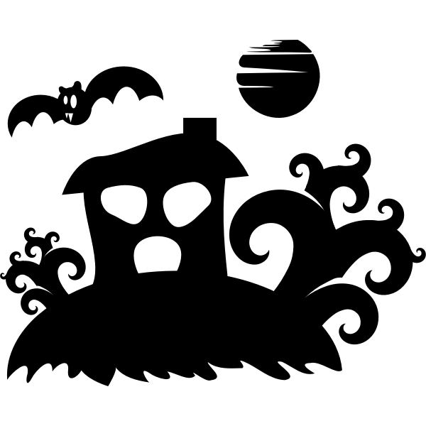 Silhouette vector graphics of spooky house