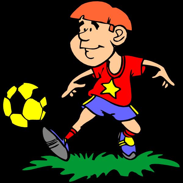 Comic boy playing football vector image