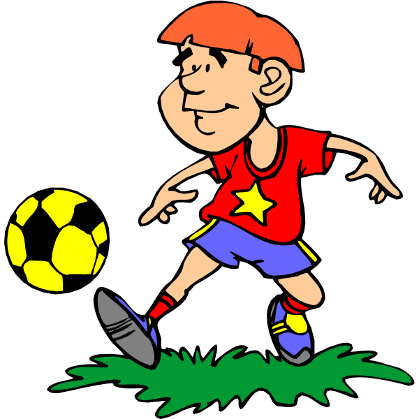 Comic boy playing football vector image