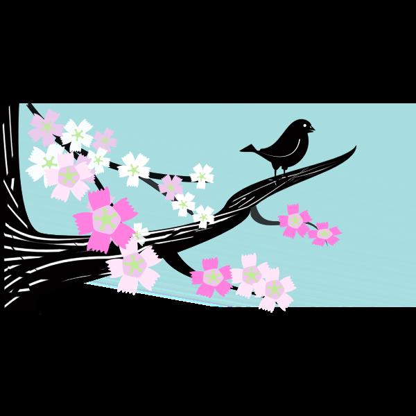 Birdie on a flower branch image