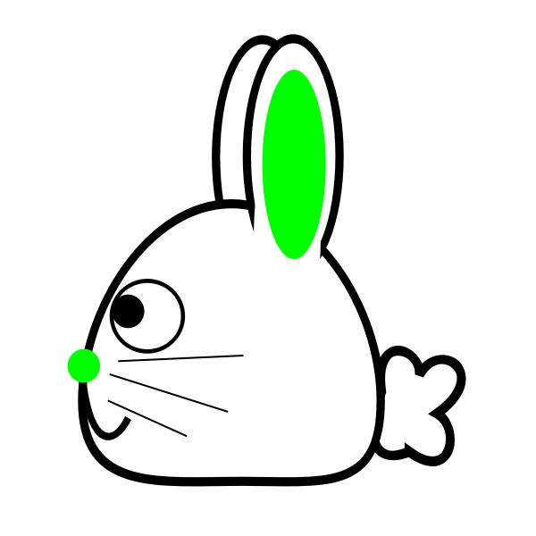 Spring bunny with green ears vector illustration