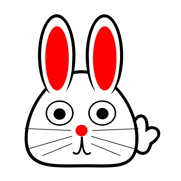 Spring bunny with red ears vector drawing