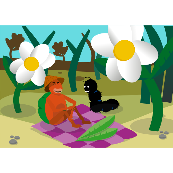 Caterpillar and turtle picnic vector image