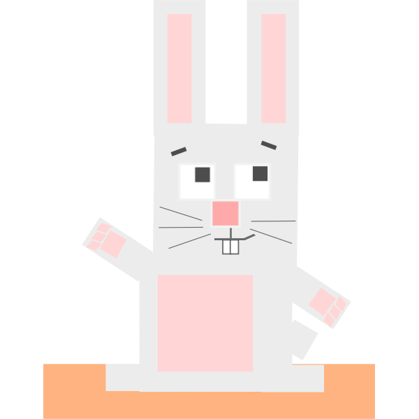 Square cartoon rabbit vector illustration