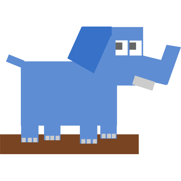 Square cartoon elephant vector drawing