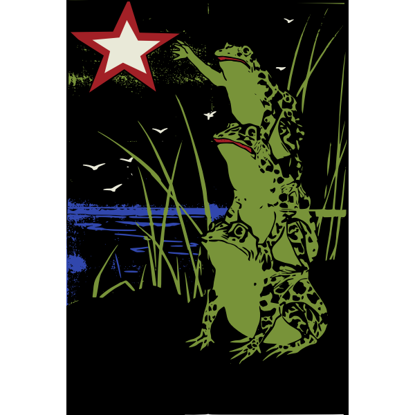 Stacked frogs with a star